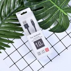 XIMISO Yüksek Kalite 2.4A Cloth Android Data Kablosu, Siyah