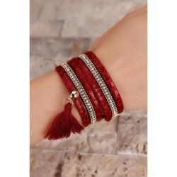 Kırmızı Leopar Desenli Kristal Taş Püsküllü Bayan Bileklik BB267 w:250 h:250