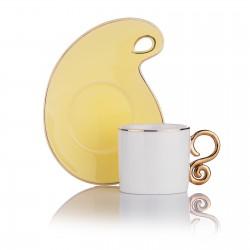 SCHAFER Stilvoll 6 Kişilik Kahve Fincan Takımı 3 Renlk