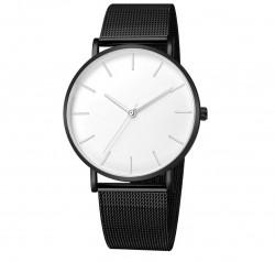 Unisex Lüks Saat, Siyah Kayış Beyaz iç w:250 h:238