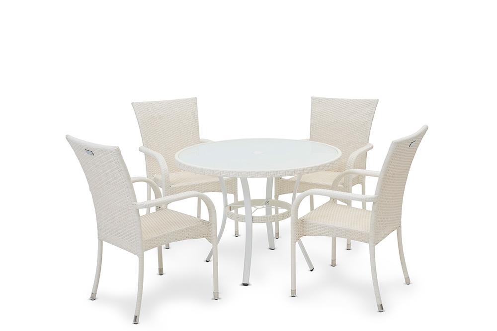 Dominica Beyaz Rattan 1 Masa + 4 Sandalye Oturma Grubu w:7952 h:5304