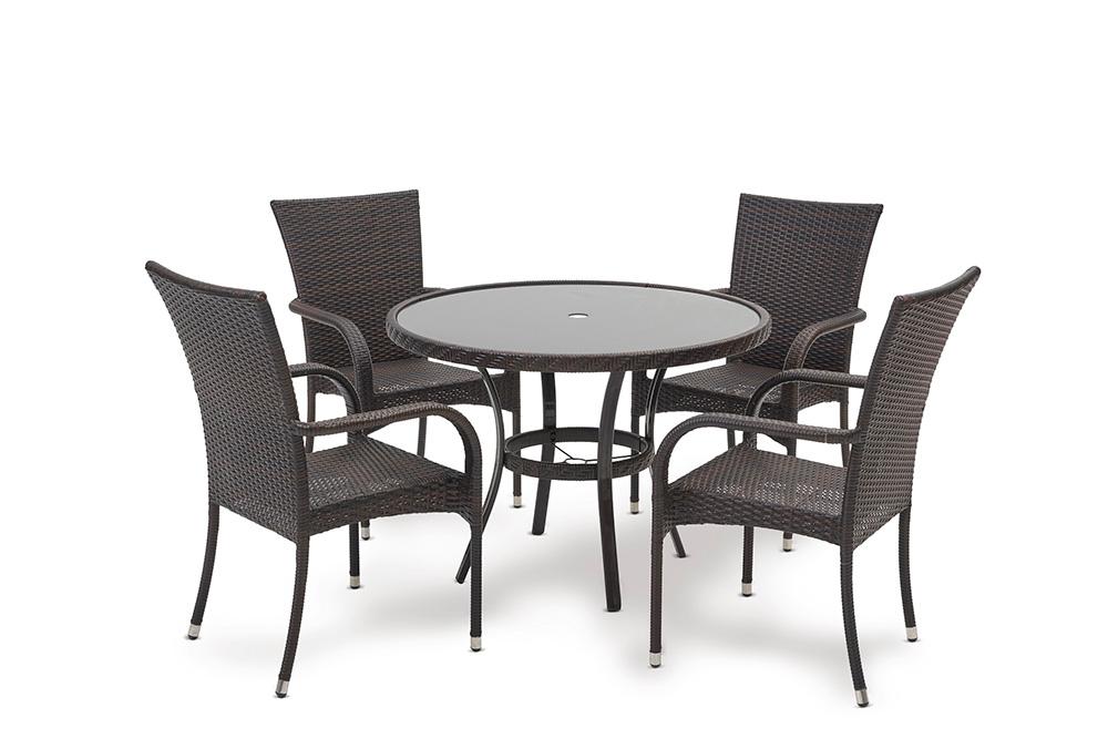 Dominica Kahve Rattan 1 Masa + 4 Sandalye Oturma Grubu.