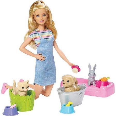 MATTEL FXH10 Barbie ve Hayvanları Banyo Eğlencesi Oyun Seti