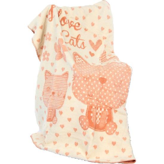 Özdilek 100x120 Bambu Bebek Battaniyesi, Love Cats.