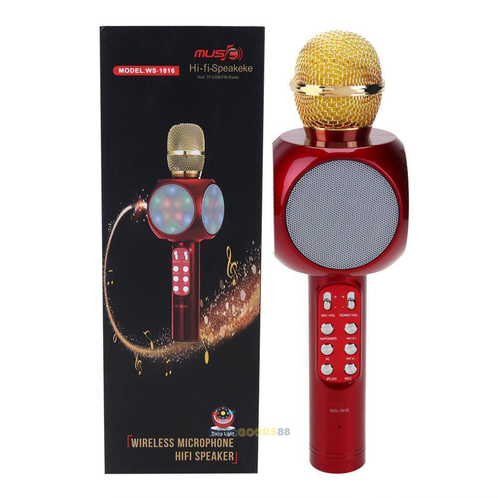 PLATOON PL-2466  Işıklı Karaoke Mikrofon Bluetooth Hoparlör FM Radyo