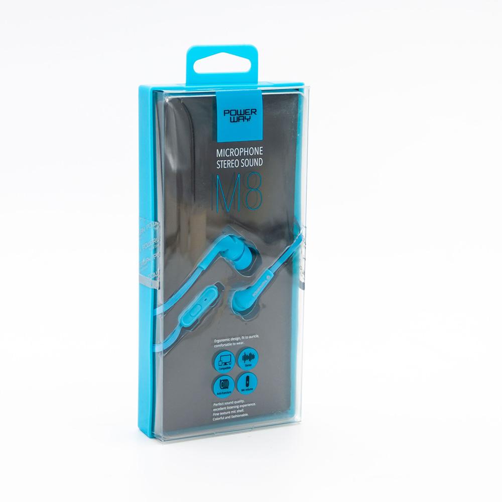 POWERWAY M8 Kulaklık Mikrofonlu 3,5 mm , Mavi