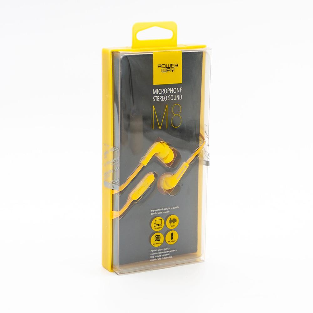 POWERWAY M8 Kulaklık Mikrofonlu 3,5 mm , Sarı