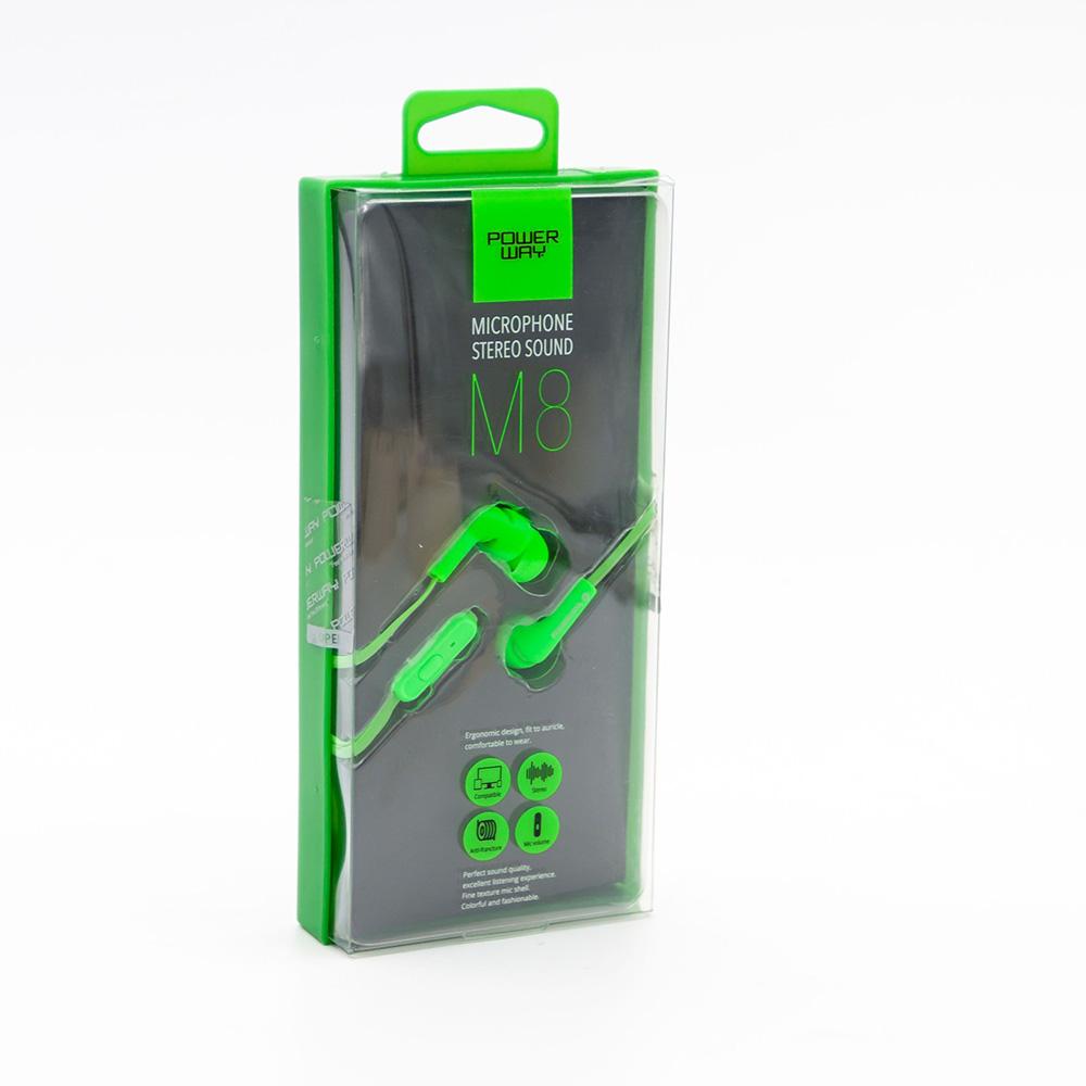POWERWAY M8 Kulaklık Mikrofonlu 3,5 mm , Yeşil
