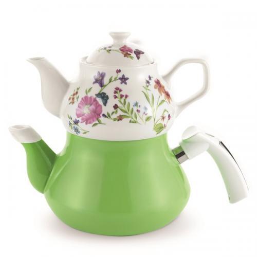 Schafer Teegarten Porselen Emaye Çaydanlık, Yeşil