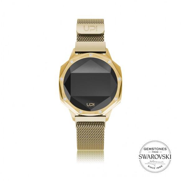 Up!Watch Iconic Dijital Göstergeli ve Swarovski Taşlı Unisex Kol Saati, Gold (9 Taşlı)