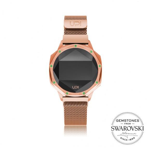 Up!Watch Iconic Dijital Göstergeli ve Swarovski Taşlı Unisex Kol Saati, Rose (9 Taşlı)