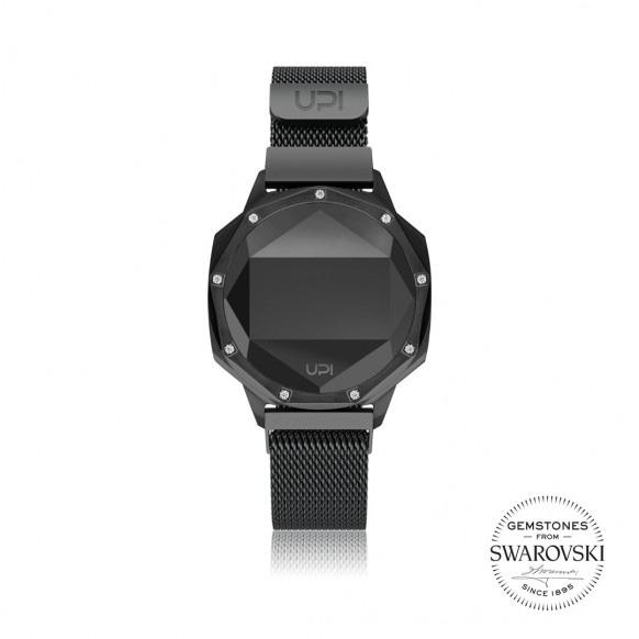 Up!Watch Iconic Dijital Göstergeli ve Swarovski Taşlı Unisex Kol Saati, Siyah (9 Taşlı)