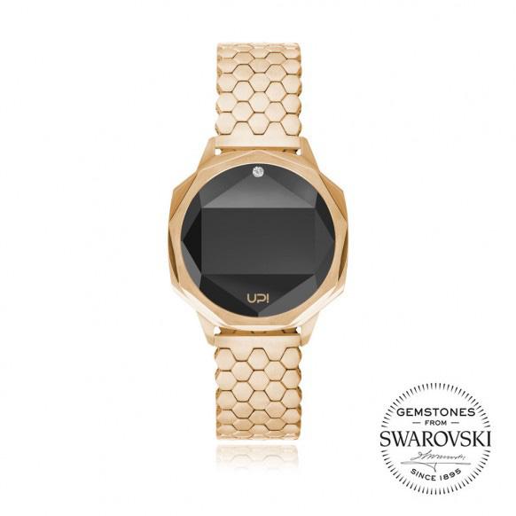 Up!Watch Iconic Dijital Göstergeli ve Swarovski Taşlı Unisex Kol Saati, Gold (Tek Taşlı)