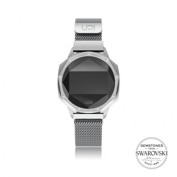 Up!Watch Iconic Dijital Göstergeli ve Swarovski Taşlı Unisex Kol Saati, Sılver (9 Taşlı)