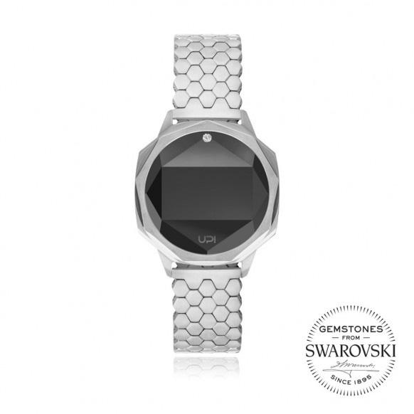Up!Watch Iconic Dijital Göstergeli ve Swarovski Taşlı Unisex Kol Saati, Sılver (Tek Taşlı)
