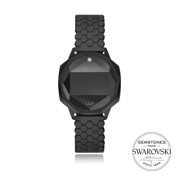 Up!Watch Iconic Dijital Göstergeli ve Swarovski Taşlı Unisex Kol Saati, Siyah (Tek Taşlı)