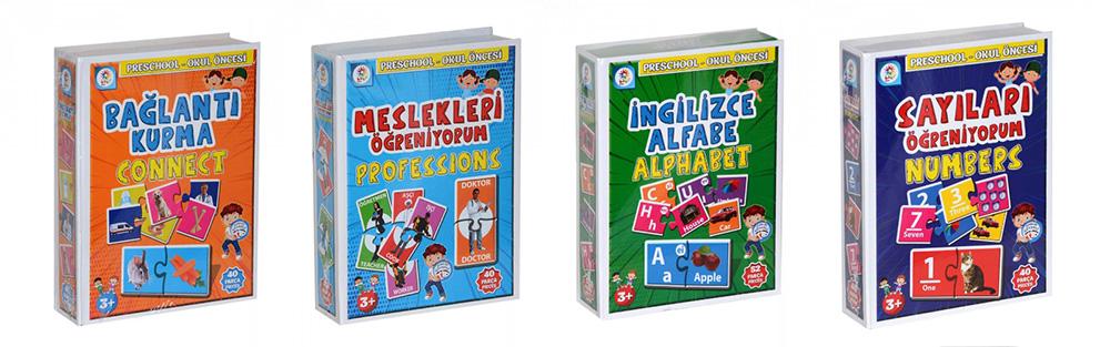 Utku Oyuncak Eğitici Öğretici İngilizce Destekli Meslekler,Sayılar,Alfabe,Bağlantı Kurma 4'lü Paket