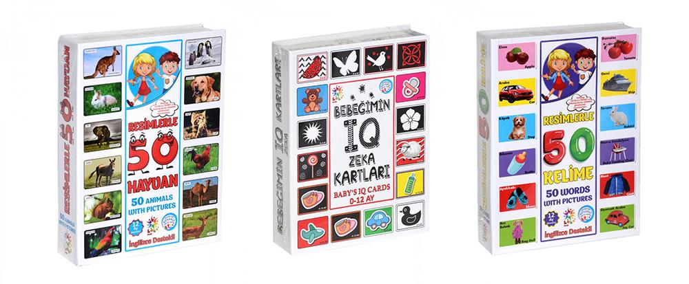 Utku Oyuncak Eğitici Öğretici Zeka Geliştirme Kartları İngilizce Destekli 3'lü Paket